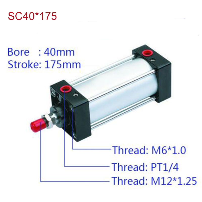 SC40*175 Free shipping Standard air cylinders valve 40mm bore 175mm stroke SC40*175 single rod double acting pneumatic cylinder<br><br>Aliexpress