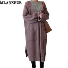 korean Long Cardigan Women Autumn 2017 Fashion Long Knitted Sweater Female Oversized Tops Fall Casual Black Coat Winter Clothing
