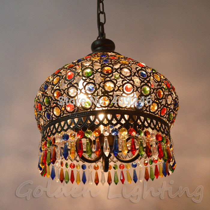 Modern Bohemia Vintage Fashion LED Colorful K9 Crystal Pendant Lamp Bronze Decoration Fixture Lights Luxury Chandeliers Light<br>