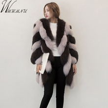 Wmwmnu 2017 new Nine Quarter Sleeve Winter Women High Imitation stripe Faux Fur Coat Jacket Fur Coat Women Clothes Fox Fur Coat(China)