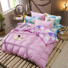 NEW Home Textile 3pcs Queen Size Colorful Bedding Sets Pretty Geometric Plaid  Sheet Duvet Cover Sets Pillowcases Linens pink