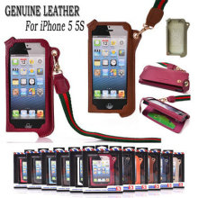 Neck Strap Rope Genuine Leather Pouch Case for iPhone 5 5S With Card Holder Fashion Design Durable Italy Goatskin Leather Cover