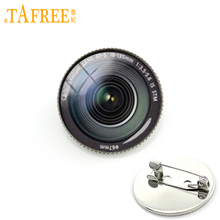 TAFREE Attractive trendy brooch jewelry DSLR Lenses camera glass cabochon Lens Photography Camera pins gift for father KC371(China)