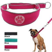 Soft Nylon Mesh Pet Dog Collars With Cute Paw Print Breathable Adjustable For Daily Walking Black Blue Pink