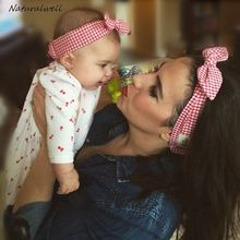 Naturalwell Cute Mom And Me Floral Paternity Hair Accessories Decoration Baby Girls Headwrap Bow Knot Headband Hairband HB082(China)