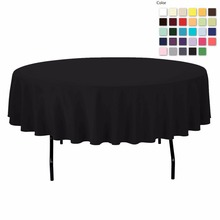 FEDEX IE 90in./230cm Diameter Round Polyester Black Tablecloth for Wedding Event Banquet Party, 20/Pack
