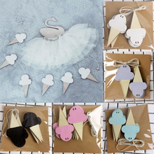 10Pcs/set DIY Wooden Ice Cream Wall Hooks Home Wall Decorative For Children Kids Room Decor Baby Bed Banner Pendant 2017 fashion