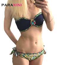 PARAKINI 2017 New High Quality Crystal Diamond Bikinis Women Floral Print Bikinis Set Swimwear Hot Sale Push Up Monokini Biquini