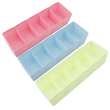 Storage Organizer Box Underwear Bras Ties Desk Sock Drawer Closet 5 Cell Plastic Home Stowing Tidying Box Bathroom Item