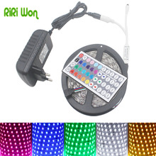 RiRi won SMD 5050 RGB LED Strip light 5M 10m 60Leds/m DC 12V tape ribbon diode flexible waterproof 44keys Controller adapter set