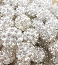 High Quality 10mm White Micro Pave Disco Ball hot Crystal Shamballa Beads.Wholesale! Stock Lot!Bracelet DIY can mix colors.