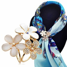 Best Deal 2 Color Chic Three Flowers Rhinestone Scarf Buckle Brooch Holder Silk Scarf Jewelry Gift 1PC(China)