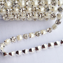 18ss 5 Yards 1 Rows Sewing Accessories 5mm Pearls Clear Crystal Rhinestone Mesh Trimming(China)