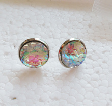 1pair 12mm White AB Dragon Scale Post Earrings , mermaid jewelry stud earrings