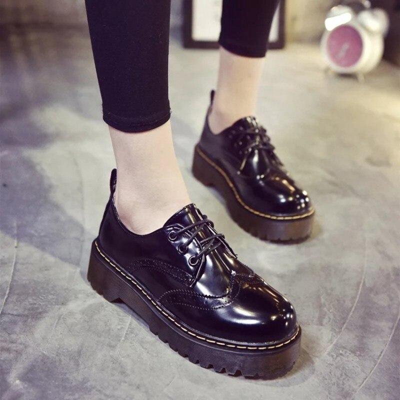 COOTELILI Designer Shoes Women Luxury 2018 Brogue Flat Platform Shoes Woman 4cm Heel PU Leather Lace-Up Ladies Shoes Flats 35-40 (1)