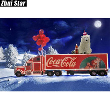 "Full Square Diamond 5D DIY Diamond Painting "" Christmas big car"" Embroidery Cross Stitch Rhinestone Mosaic Painting Decor Gift"