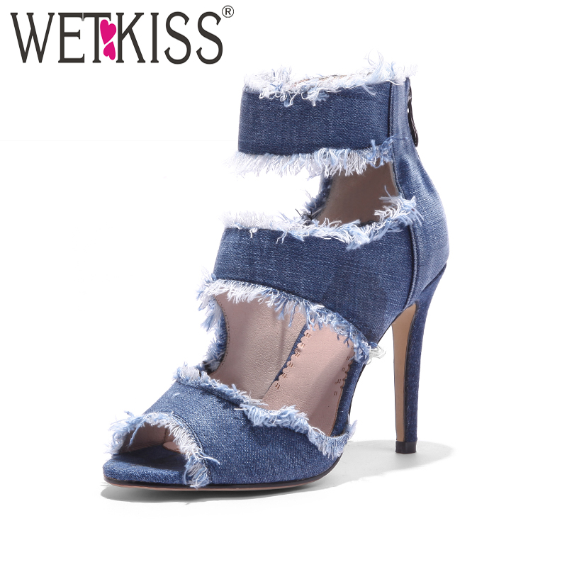 WETKISS Cutout High Heels Women Sandals Holed Peep Toe Denim Zipper Thin Heels Footwear 2018 Spring Fashion Summer Ladies Shoes<br>