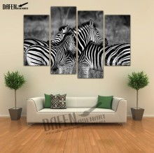 4 Panel Art Zebra Painting Black and White Animal Painting for Living Room Wall Art Canvas Prints Ready to Hang