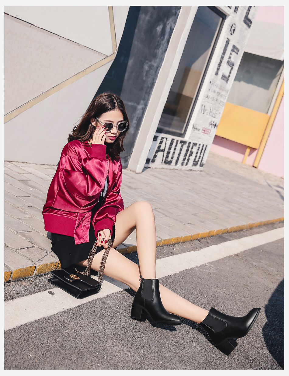 Donna-in 2017 new style genuine leather ankle boots pointed toe thick heel chelsea boots calf leather women boots ladies shoes 96350-17 (4)