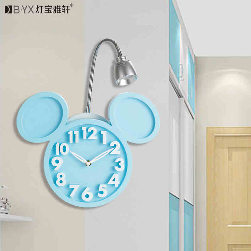 2016 new Mitch childrens wall clock wall lights children room bedroom lamp girl and boy Garden stlyle lighting<br>