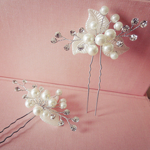 Nice white Pearl Hair Pins girls leaf hair combs rhinestone bride hair accessories Wedding hairpins Jewelry Hair Sticks