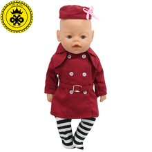 Baby Born Doll Dress Clothes fit 43cm Baby Born Zapf Red Stewardess Business Attire Hat Doll Accessories Handmade 064(China)