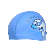 Unisex Children Kids Breathable Swimming Hat Waterproof Hair Care Ear Protection Swim Cap Polyester Cartoon Dolphin Patterns