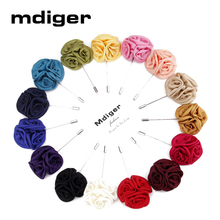 Mdiger Men Jewelry of Silk Flower Brooches Rose Cluster Floral Men Lapel Pins for Suits Handmade Boutonniere Mixed 12 PCS/LOT(China)