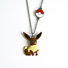 5pcs/lot pokemon game eevee pendant necklaces with pokeball charms friendship necklaces pokemon figures pendant necklaces(China)