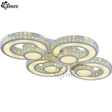 Modern Remote Control Dimming Ceiling Lighting Ring Contracted / contemporary LED Light Crystal Luxury Living Room Bedroom Lamps(China)