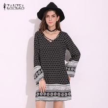 Buy ZANZEA Boho Floral Print V-Neck Long Sleeve Lace Beach Mini Dress Casual Loose Summer Party Straight Sundress Plus Size 2017 for $10.23 in AliExpress store