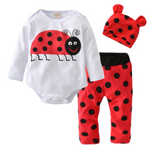 2017 Autumn style Newborn Baby Boy Girl Clothes Cotton Long Sleeve Cartoon Ladybug Printing Romper+Pants+Hat Infant Clothing Set