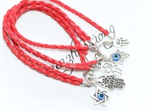 5 Pieces Hot Fashion Mixed Hamsa Fatima Hand Red String Good Luck Bracelets Success against Porat Pray(China)