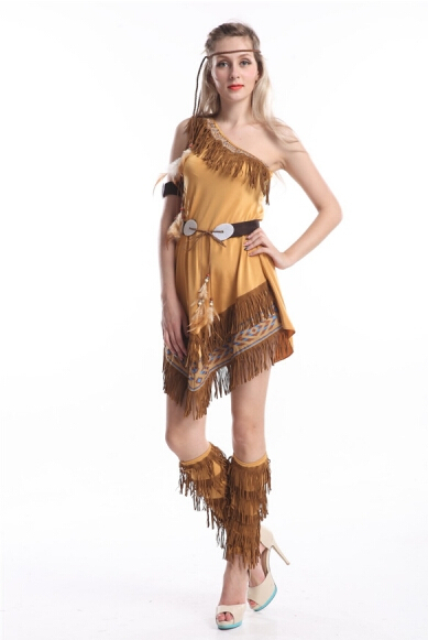 2015 party costume zy458 indian fancy dress costume Ladies Native American Indian Wild West Fancy Dress(China)