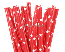 100pcs Red White Star Design Paper Straws Party Supplies Party Straws Eco crarft paper(China)