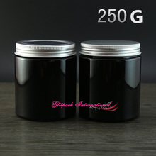 30pcs/lot 250g beauty skin care homemade cosmetic containers Black PET stock cosmetic packaging w/ Screw aluminum window Lid