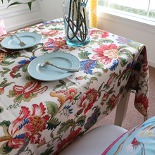 Vintage Flowers Tablecloths Thick Cotton Linen Tablecloth Customize Tablecloths