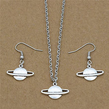 Personality Antique Silver Plated Space Saturn Star Planet Charms Pendant Necklace Drop Dangle Earrings Unique Gift Jewelry Sets(China)