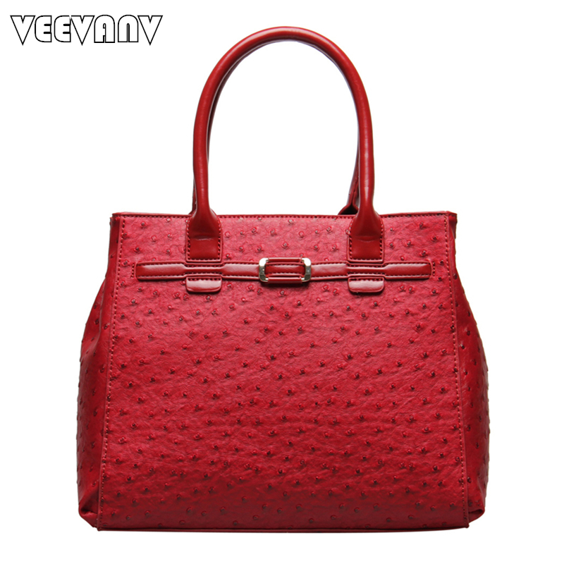 VEEVANV 2018 Office Ladies Handbags Women Leather Shoulder Bags Fashion Designer Ostrich Tote Bags Female Handbags Famous Brands<br>