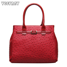 VEEVANV 2017 Office Ladies Handbags Women Leather Shoulder Bags Fashion Designer Ostrich Tote Bags Female Handbags Famous Brands(China)