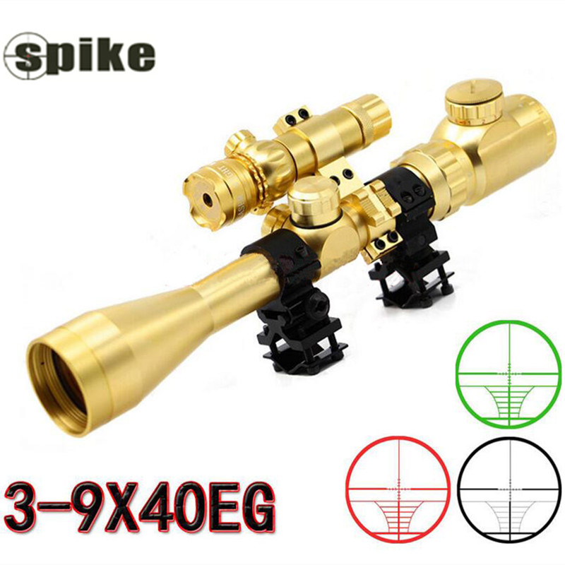 Hot Sale 3-9x40 Gold Riflescope Red Dot Rifle Scope Luneta Para Rifle Laser Sight For Hunting Airsoft Supplies Red Dot Sight<br><br>Aliexpress
