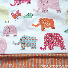 160cm width Printed Cartoon elephant Cotton Patchwork Fabric DIY Handmade Sewing Tilda Quilting doll toy fabric
