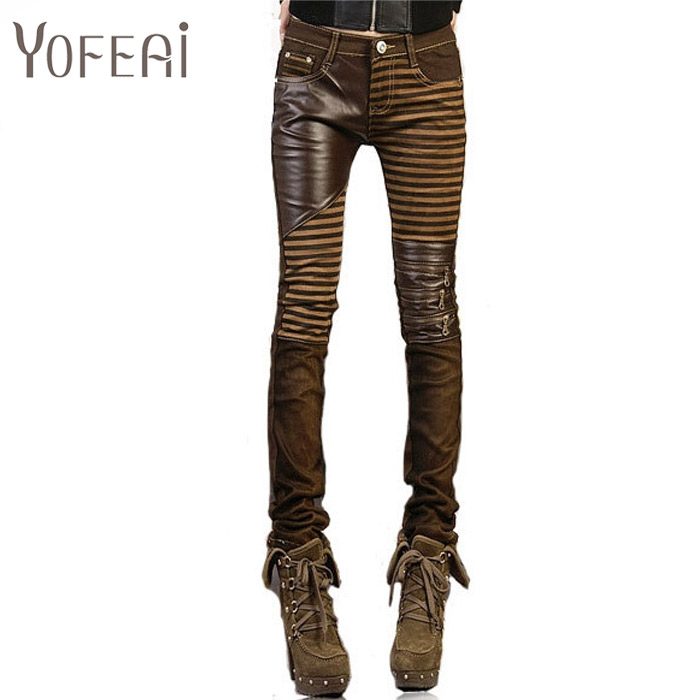 YOFEAI  High quality PU leather jeans for women 2017 fashion Casual pants feet Denim jeans for woman pencil pants big size blackОдежда и ак�е��уары<br><br><br>Aliexpress