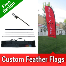 Free Design Free Shipping Double Sided Inground Spike Flag Banners Signs Advertising Outdoor Feather Banners Blade Flag(China)