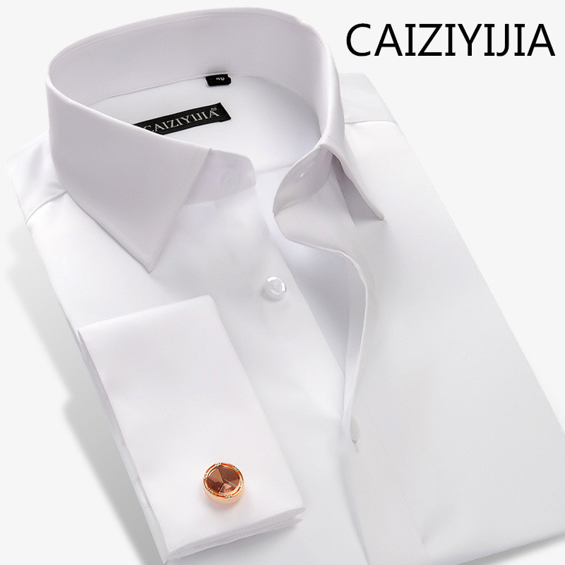CAIZIYIJIA French Style Mens Solid Silm fit Long Sleeve Dress Shirt High Quality Mercerized Cotton Camisa Social Masculina