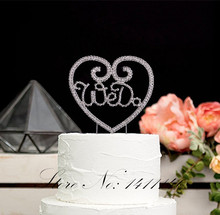 "Love Heart Shape "" We Do"" Diamond Rhinestones Cake  Topper for Wedding Cake Decoration Supplies  free shipppping"