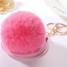 Cosmetic mirror Pendant Key chain 8cm Faux Fur Pompom ball Car Key Holder Originality Bag Charm Accessories Gift jewelry K1632(China)