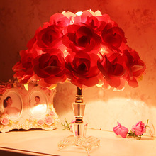 Table lamp bedroom bedside lamp fabric roses red wedding gift ideas, wedding flowers romantic garden lamp