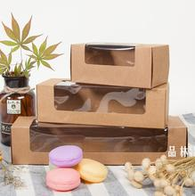 1-18 Joy, kraft paper box,brown paper gift box with clear window,Macaron food packaging(China)