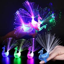 5Pcs Peacock Finger Light Rings Toy Colorful LED Light-up Finger Lamp Party New Year Xmas Gadgets(China)
